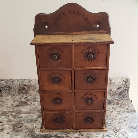 Vintage Other - Antique Wooden 8 Drawer Spice Cabinet Early 1900s